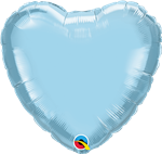 "Qualatex 54584 9"" Heart Pearl Light Blue Foil"