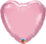 "Qualatex 54593 9"" Heart Pearl Pink Foil"