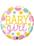 "18"" ROUND BABY GIRL DOTS FOIL"