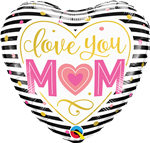 "Qualatex 55824 18"" Heart Love You Mum Stripes Foil"