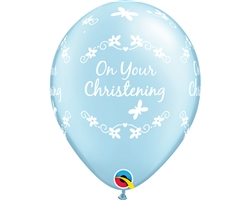 "11"" RETAIL LATEX CHRISTENING BUTTERFLIES BLUE (6 BAGS OF 6 BALLOONS PER BAG)"