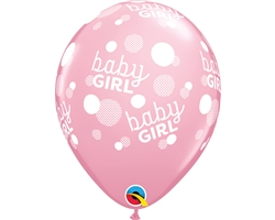 "11"" RETAIL LATEX BABY GIRL DOTS (6 BAGS OF 6 BALLOONS PER BAG)"