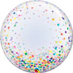"24"" DECO BUBBLE COLOURFUL CONFETTI DOTS"