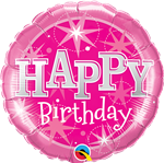"Qualatex 58415 9"" Birthday Pink Sparkle Foil"