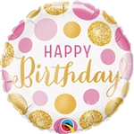 "9"" ROUND BIRTHDAY PINK & GOLD DOTS FOIL"