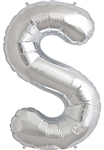 "16"" LETTER S - SILVER FOIL AIR FILL"