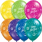 "11"" ROUND NEW YEAR PARTY FANTASY ASSORTMENT LATEX (25 PER BAG)"