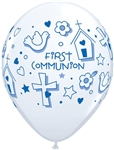 "11"" ROUND BLUE FIRST COMMUNION LATEX (25 PER BAG)"