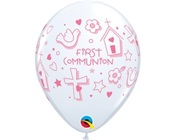 "11"" RETAIL LATEX COMMUNION SYMBOLS GIRL (6 BAGS OF 6 BALLOONS PER BAG)"