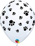 "Qualatex 61888 11"" WHITE PAW PRINTS"