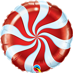 "18"" CANDY SWIRL RED FOIL"