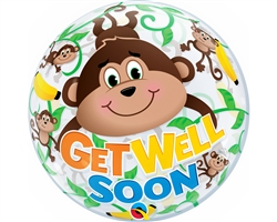 "22"" SINGLE BUBBLE GET WELL MONKEYS"