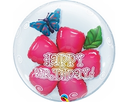 "24"" DOUBLE BUBBLE HAPPY BIRTHDAY FLOWER"