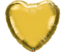 "36"" HEART METALLIC GOLD PLAIN FOIL"
