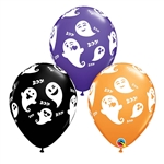 "11"" ROUND EMOTICON GHOSTS LATEX (25 PER BAG)"