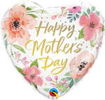 Qualatex 82207 Heart Mother's Day Pink Floral Foil