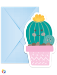 Little Cactus Invitations and Envelopes