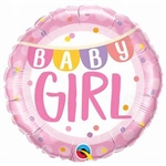 "18"" ROUND BABY GIRL BANNER & DOTS FOIL"