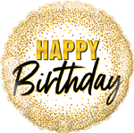 "18"" ROUND BIRTHDAY GOLD GLITTER DOTS FOIL"