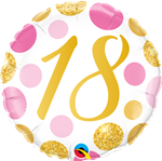 "18"" ROUND 18 PINK & GOLD DOTS FOIL"
