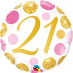 "18"" ROUND 21 PINK & GOLD DOTS FOIL"