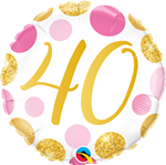 "18"" ROUND 40 PINK & GOLD DOTS FOIL"