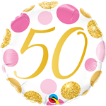 "18"" ROUND 50 PINK & GOLD DOTS FOIL"