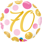 "18"" ROUND 70 PINK & GOLD DOTS FOIL"