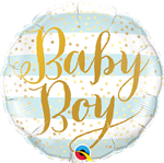 "Qualatex 88489 9"" Baby Boy Stripes Foil"