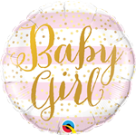 "Qualatex 88497 9"" Baby Girl Stripes Foil"