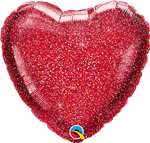 "18"" HEART GLITTERGRAPHIC RED FOIL"