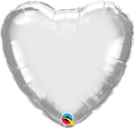 "18"" Heart Chrome Silver Foil"