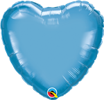 "18"" Heart Chrome Blue Foil"