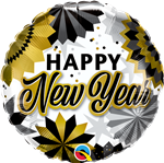 Qualatex 89858 New Year Black Gold Fans Foil