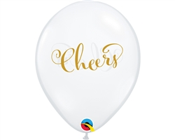 "11"" ROUND DIAMOND CLEAR SIMPLY CHEERS LATEX (25 PER BAG)"