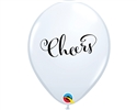 "11"" ROUND WHITE SIMPLY CHEERS LATEX (25 PER BAG)"
