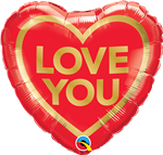 "18"" HEART LOVE YOU GOLDEN HEART FOIL"