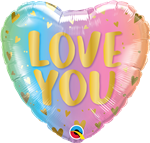 "18"" HEART LOVE YOU PASTEL OMBRE & HEARTS FOIL"