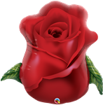 "33"" SHAPE RED ROSE BUD FOIL"