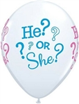 Gender Reveal He Or She Latex Balloons