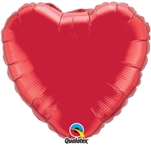 "18"" HEART RUBY RED GOLD PLAIN FOIL"