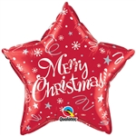 "20"" STAR MERRY CHRISTMAS FESTIVE RED FOIL"