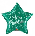 "20"" STAR MERRY CHRISTMAS GREEN FOIL"