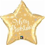 "20"" STAR MERRY CHRISTMAS GOLD FOIL"