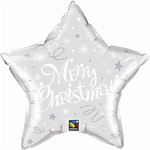 "20"" STAR MERRY CHRISTMAS SILVER FOIL"