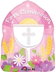 "18"" ROUND 1ST COMMUNION BLESSED PINK FOIL"
