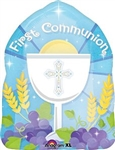 "18"" ROUND 1ST COMMUNION BLESSED BLUE FOIL"