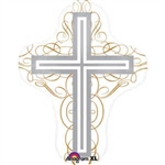 "28"" SUPER SHAPE COMMUNION CROSS WHITE"
