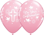 "11"" ROUND PINK CONFIRMATION SYMBOLS LATEX (25 PER BAG)"