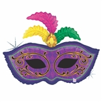 "34"" MARDI GRAS FEATHER MASK FOIL"